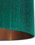 Emerald Silk Lampshade With Brushed Copper Lining Close Up