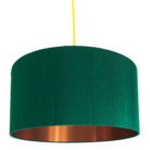 Emerald Silk Lampshade With Brushed Copper Lining
