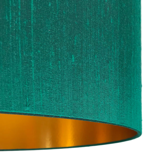 Emerald Green Silk Lampshade With Gold Lining Close up