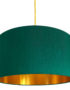 Emerald Green Silk Lampshade With Gold Lining