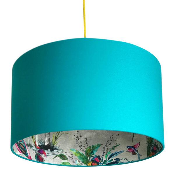 Grey Chimiracle wallpaper lampshade in Jade Green