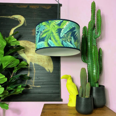Handmade Tropical Drum Lamp Shade in Midnight Jungle