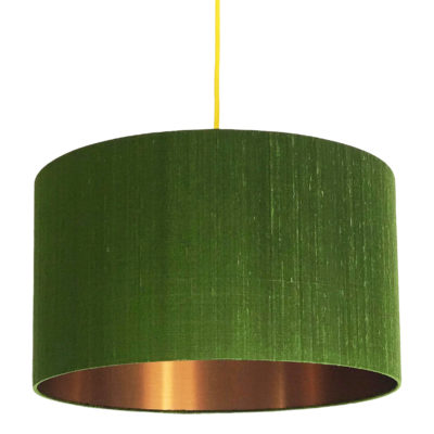 Moss Green Silk Lampshade With Brushed Copper Lining