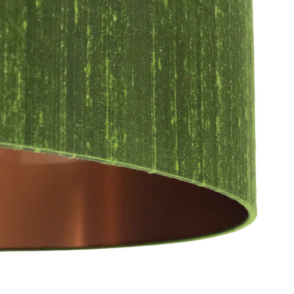 Moss Green Silk Lampshade With Brushed Copper Lining Close Up