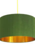 Moss Green Silk Lampshade With Gold Lining
