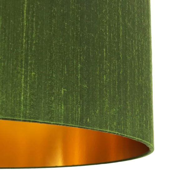 Moss Green Silk Lampshade With Gold Lining Close up