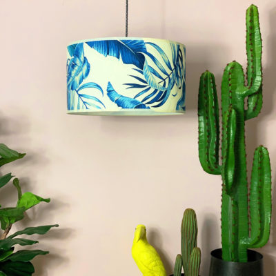 Handmade Tropical Drum Lampshade Paradise Blues