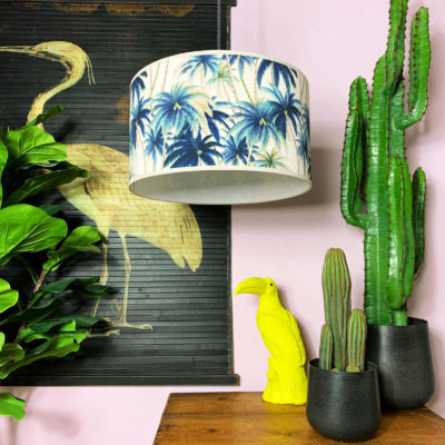 Handmade Tropical Drum Lamp Shade Swaying Palms in Blue