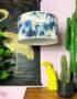 Handmade Tropical Drum Lamp Shade Swaying Palms in Blue