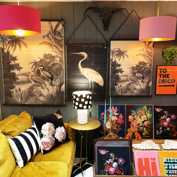 Heron wall hangings as seen in Love Frankie Shop in Totnes