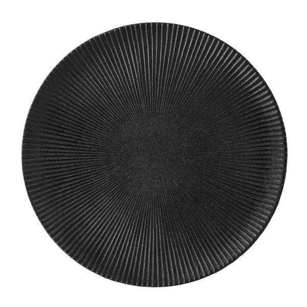 Artisan Charcoal black ribbed Dinner Plate
