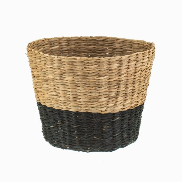 Black and Natural Seagrass Planter Cut Out