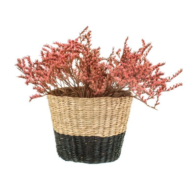 Black and Natural Seagrass Planter