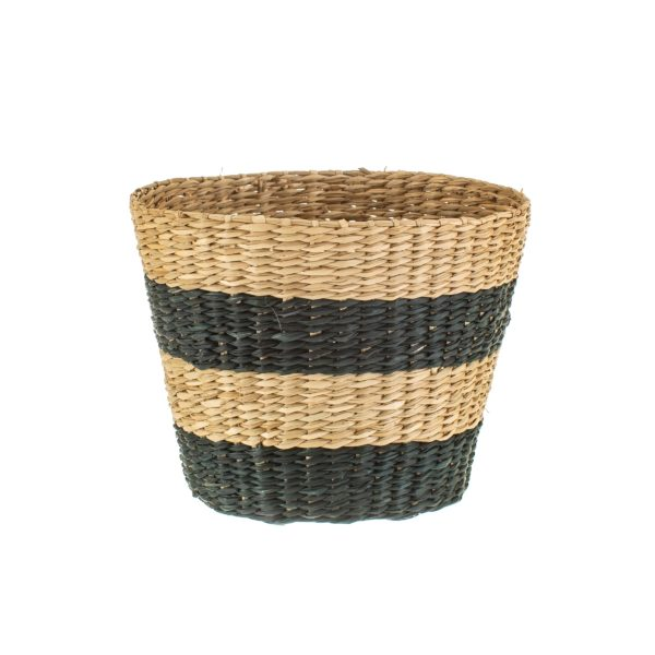 Black and Natural Striped Seagrass Planter
