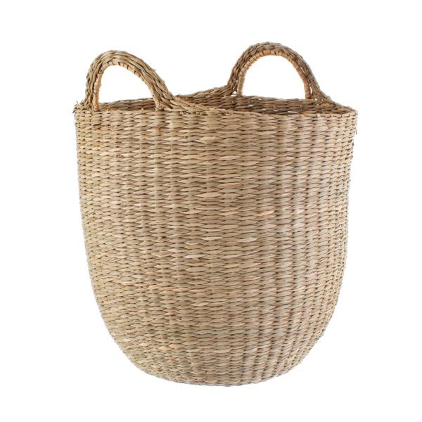 Woven Seagrass Basket Cut Out White Background