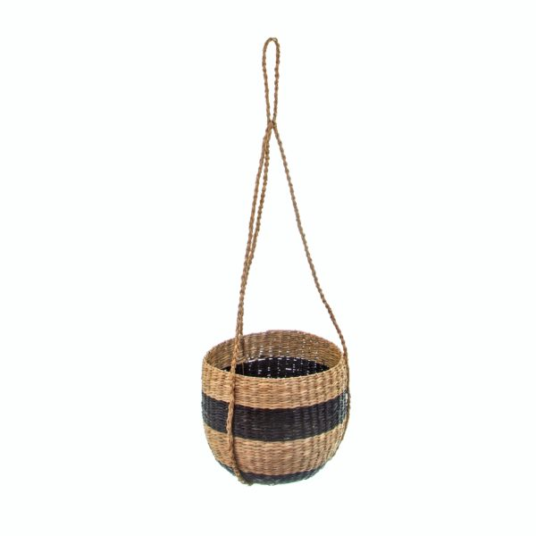 Stripy Black and Natural Seagrass Hanging Basket
