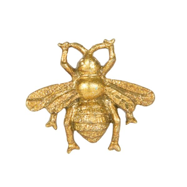 Bee Drawer Knob in Antique Gold Front Detail