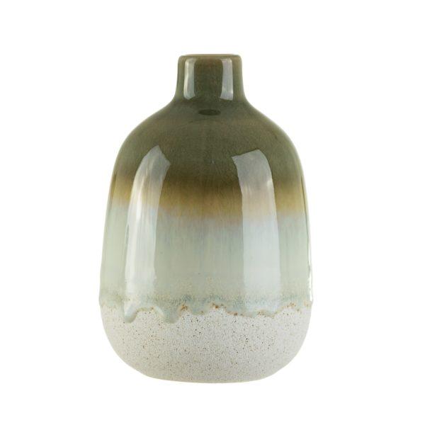 Mini Green Glazed Vase Cut Out White Background
