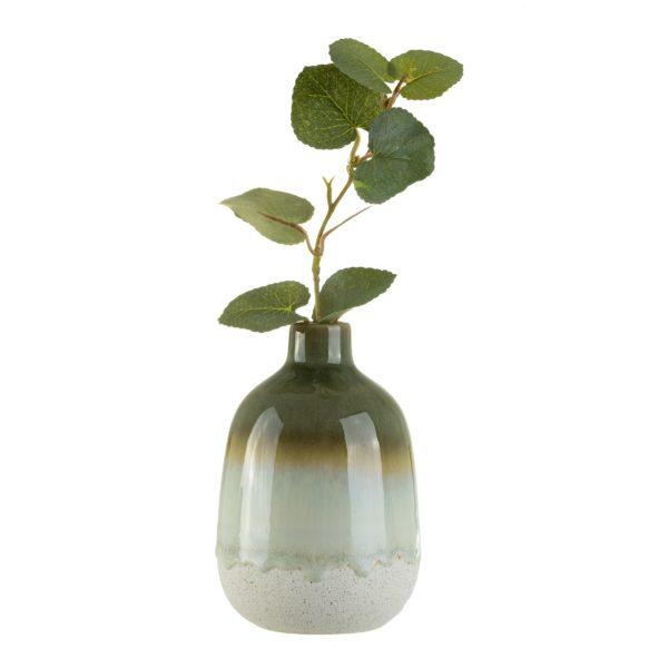 Mini Green Glazed Vase Cut Out White Background Twig