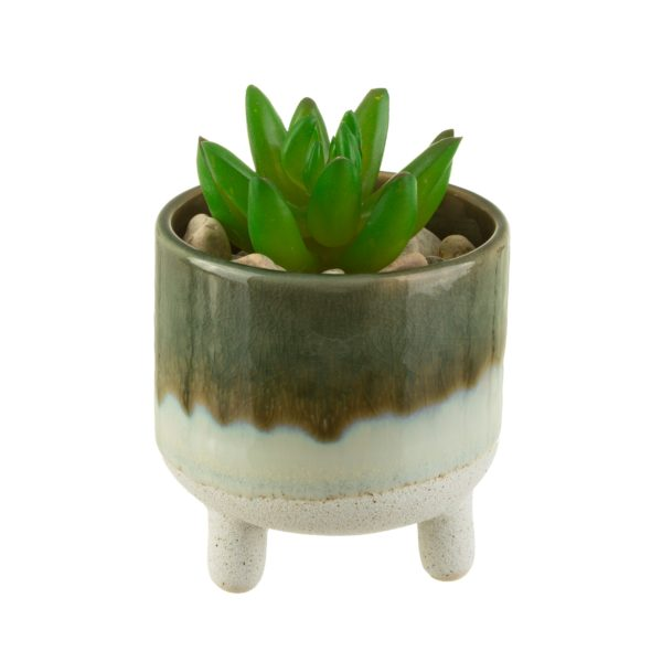 Mini Green Glazed Planter With Plant Cut Out White Background