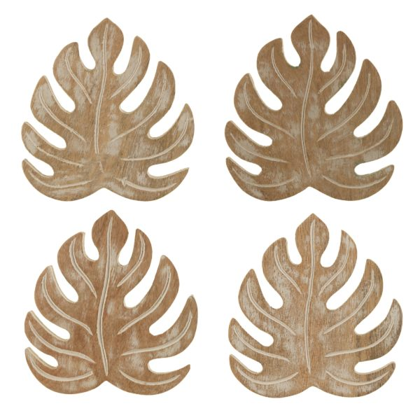 Monster Leaf Coaster Set Face On Cut Out White Background