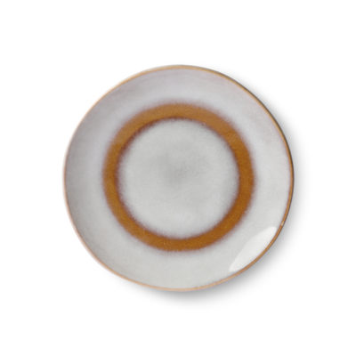 70's Inspired Ceramic Dessert Plate - Snow