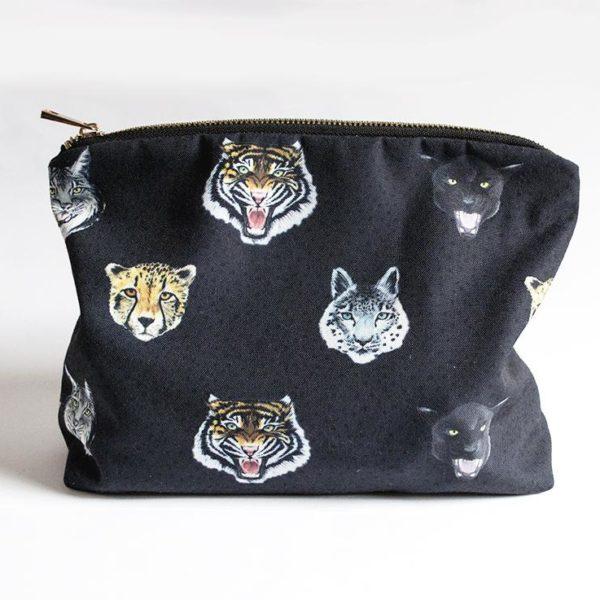'Wildcats' Leopard Wash bag in Navy Blue
