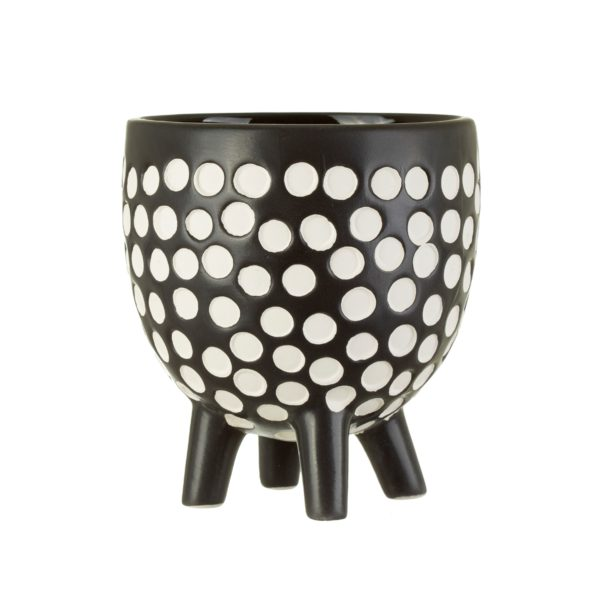 Monochrome Spotty Planter Cut Out White Background