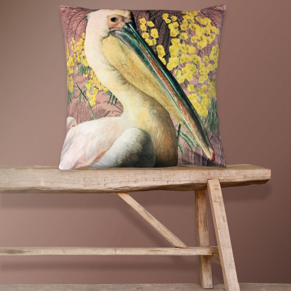 Velvet Pelican Cushion in Pink