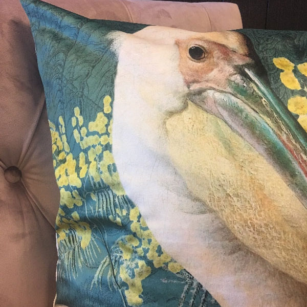Pelican Cushion in Green Velvet close up