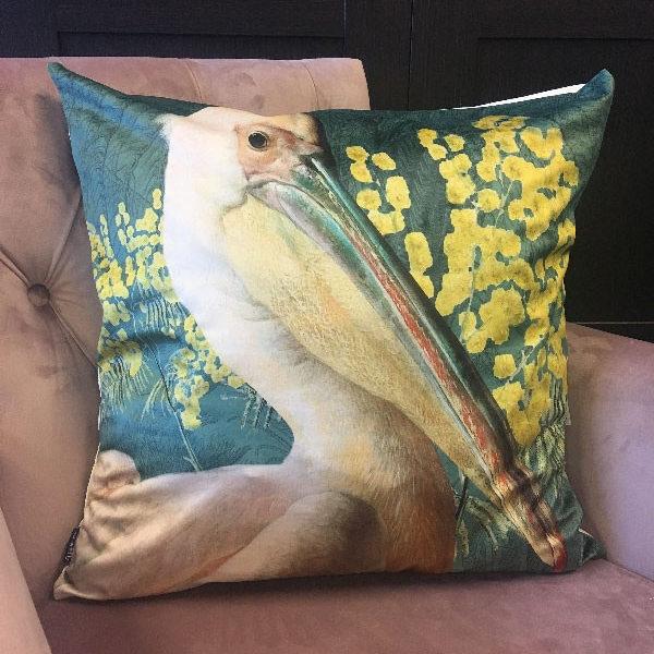 Pelican Cushion in Green Velvet