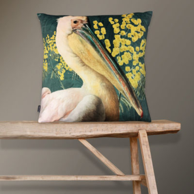 Pelican Cushion in Green Velvet