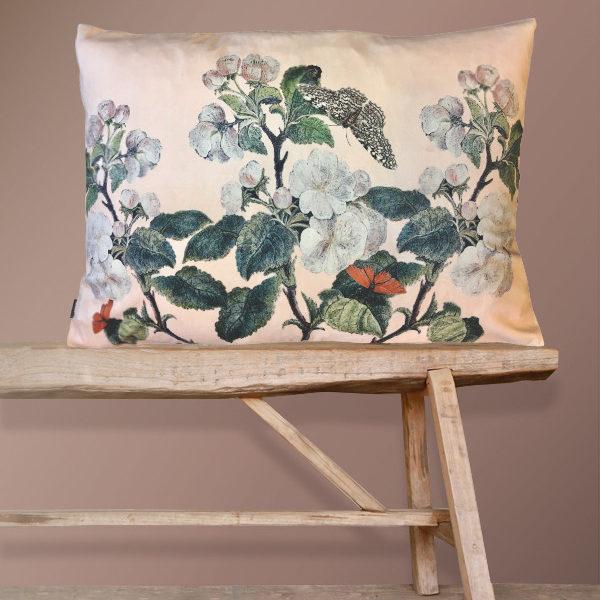 Nude Apple Blossom Bolster floral velvet Cushion