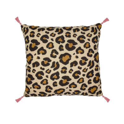 Wild leopard print cushion with tassels