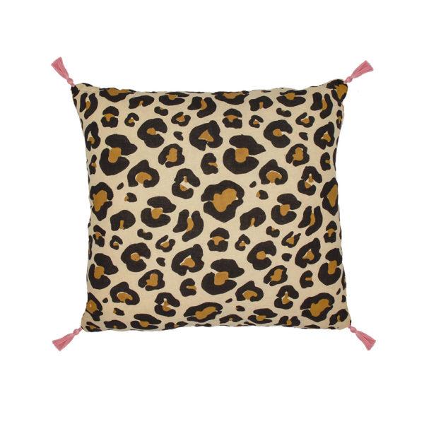 Wild leopard print cushion with tassels