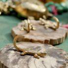 Brass Crocodile Display Hook - Small