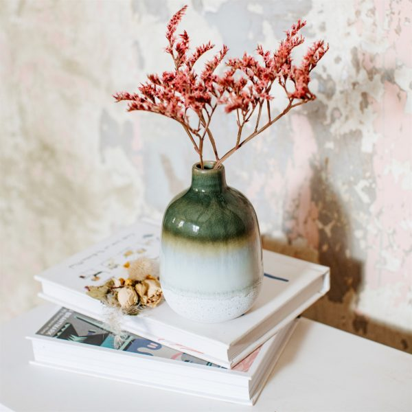 Mini Green Glazed Vase Life Style Shot