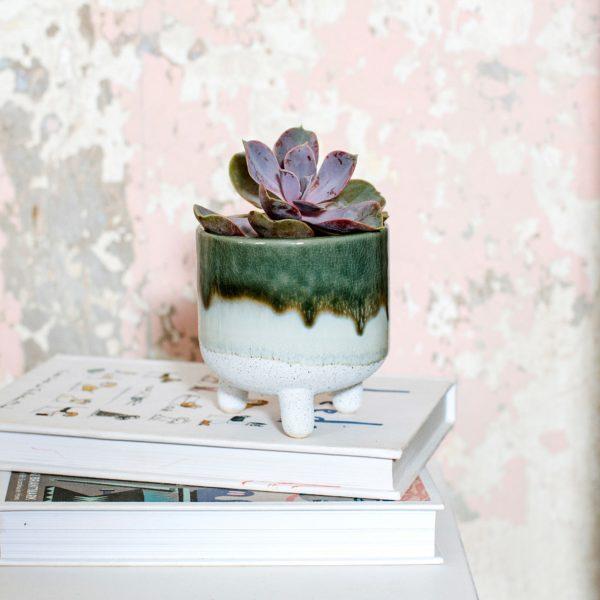 Mini Green Glazed Planter