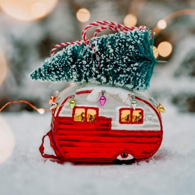 Retro Caravan Christmas Bauble Lifestyle
