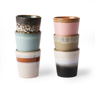 70's Ceramics Cups - Set of 6 Gift Box