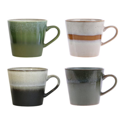 70's Ceramics Mugs - Set of 4 Gift Box