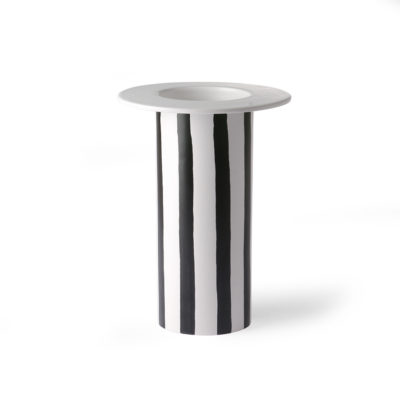 Black and White Striped Vase