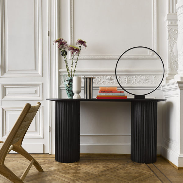 Black and White Striped Vase lifestyle shot