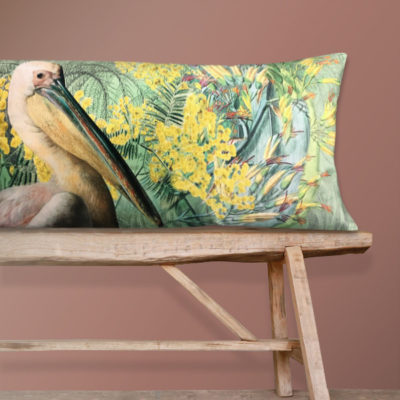 Pelican Bolster Cushion in Velvet