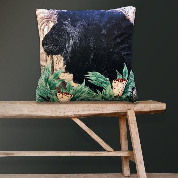 Black Lion Velvet Cushion