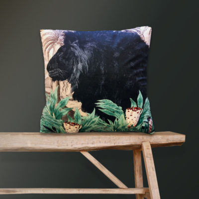 Black Lion Velvet Cushion