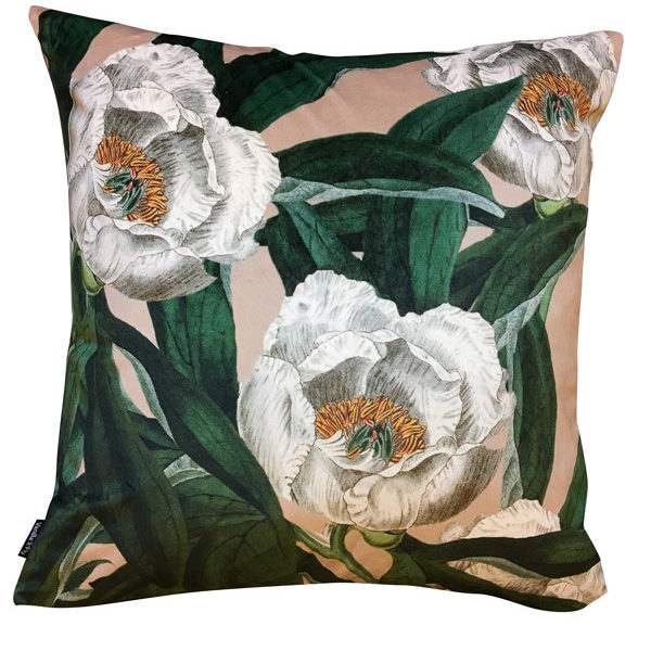 Peony Velvet Cushion in Pink and Green Cut out