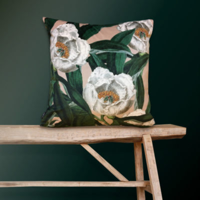 Floral Peony Cushion in Pink and Green Velvet