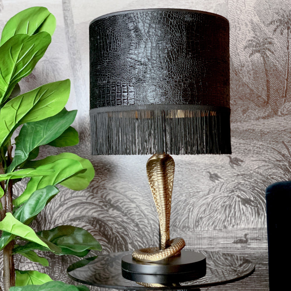 Serpent Snake Gold Table Lamp with Mock Croc Velvet Lampshade