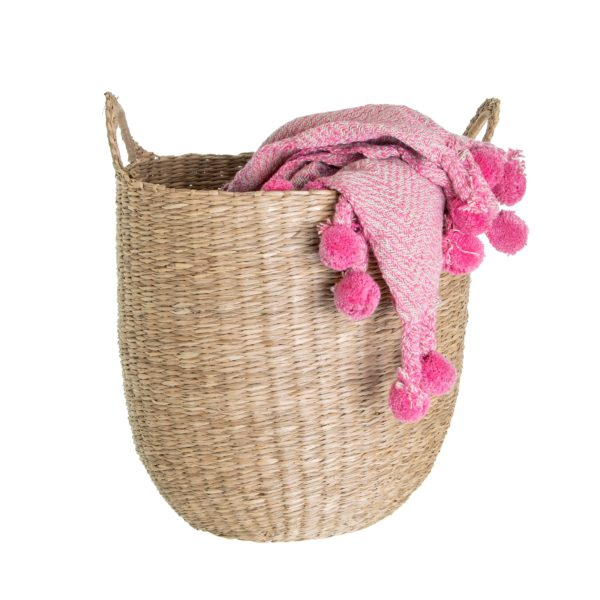Woven Seagrass Basket with blanket cut out white background